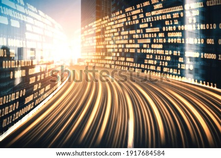 Digital data flow on road with motion blur to create vision of fast speed transfer . Concept of future digital transformation , disruptive innovation and agile business methodology . Royalty-Free Stock Photo #1917684584