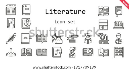 literature icon set. line icon style. literature related icons such as bookworm, audiobook, open book, bookshelf, feathers, book, ink pen, reading, librarian, quill,  Royalty-Free Stock Photo #1917709199