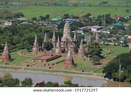 helicopter takes pictures of ancient temples, Ayutthaya Province