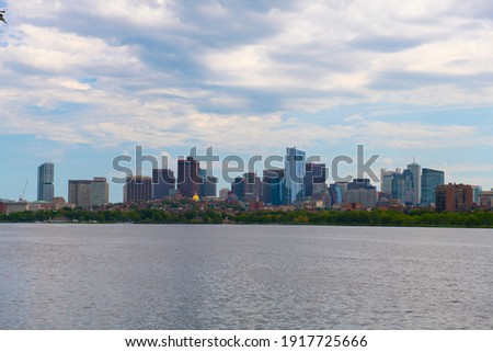 Boston Financial District skyline across Charles River from Cambridge, Boston, Massachusetts MA, USA.