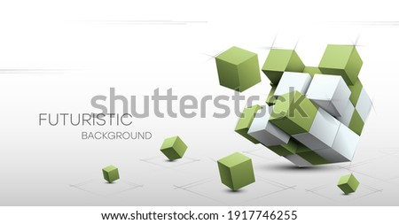 3D Abstract background with cubes. Volumetric abstract background, connection from geometric cubes. Science and technology. Internet communications. Vector illustration. Royalty-Free Stock Photo #1917746255