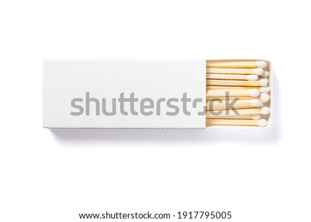 white matchbox and white match sticks on a white background with clipping path Royalty-Free Stock Photo #1917795005