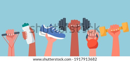 Sport exercise web banner concept, human hands holding training equipment such as dumbbells, kettlebell and resistance band, time to fitness workout and healthy lifestyle, flat vector illustration Royalty-Free Stock Photo #1917913682