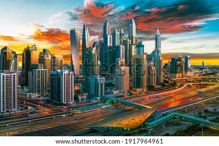 Dubai Marina symbol of Jumeirah beach and Dubai city, United Arab Emirates