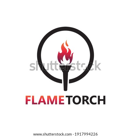 Flame torch logo template design