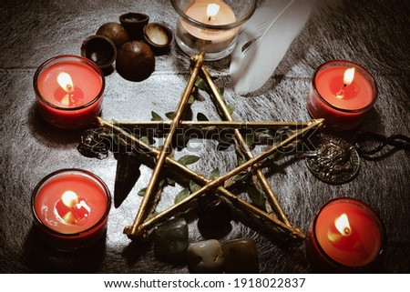 The symbol of the five-pointed star in the ritual of the wizard This picture is used to compose a magical article.
