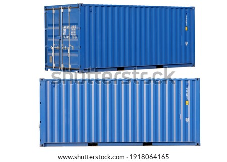 Blue container Cut the white background for easy use. Royalty-Free Stock Photo #1918064165