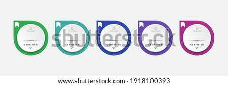 Certified digital badge logo design template. Future of IT certification for corporate project brand. Set modern icon vector illustration. Royalty-Free Stock Photo #1918100393