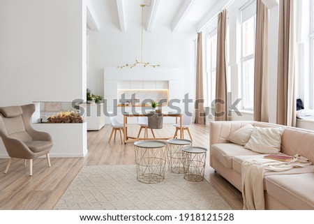 interior design spacious bright studio apartment in Scandinavian style and warm pastel white and beige colors. trendy furniture in the living area and modern details in the kitchen area. Royalty-Free Stock Photo #1918121528