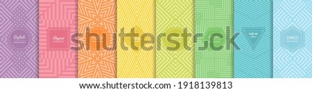 Rainbow vector geometric seamless patterns collection. Set of bright colorful backgrounds with modern minimal labels. Cute abstract geometrical textures. Simple pattern design for babies, kids, decor Royalty-Free Stock Photo #1918139813