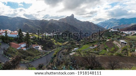 Panorama of picturesque Canarian village Tejeda in mountain valley scenery and view of bentayga rock Gran Canaria, Canary Islands, Spain Royalty-Free Stock Photo #1918148111