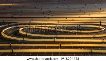 Tubing are elements of radiant floor heating system Royalty-Free Stock Photo #1918204448