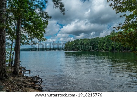 View of Lake Lanier, Georgia from the shoreline with trees alongside with exposed roots and a boat ramp across in the woodlands and the mountains in the far distance on a cloudy sunny day in summer Royalty-Free Stock Photo #1918215776