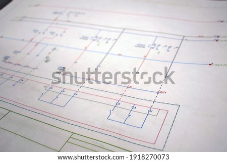 Printed electrical diagram. Electrical equipment connection diagram, technological design Royalty-Free Stock Photo #1918270073