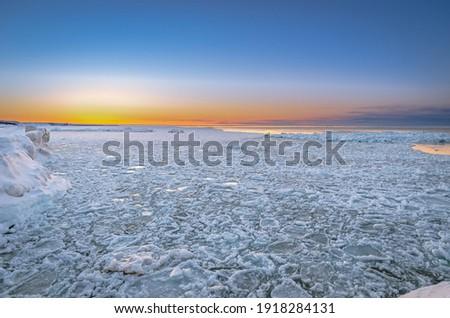 Pancake ice on Lake Superior Near the Pictured Rocks National Lakeshore, Grand Marais Michigan