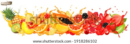 Fruit in juice splash panorama. Strawberry, raspberry, blueberry, blackberry, orange, guava, watermelon, pineapple, mango, peach. Vector. Royalty-Free Stock Photo #1918286102