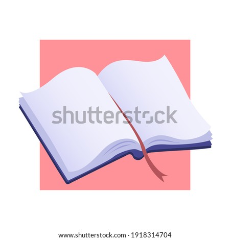 Opened handbook with a bookmark. Reading and knowledge symbol. Colorful flat illustration.