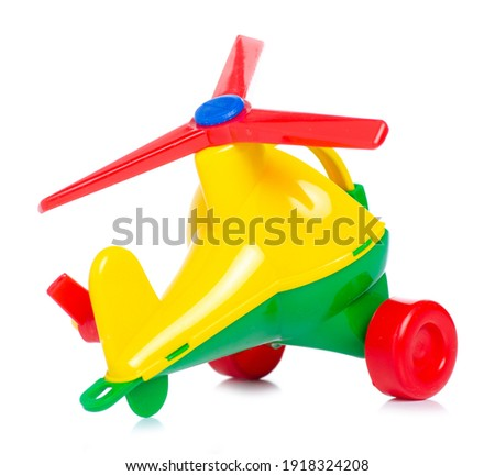 plastic toy helicopter on white background isolation