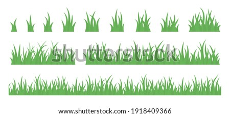 Grass tuft and seamless horizontal green turf vector set