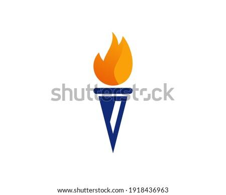 Torch logo fire flame vector