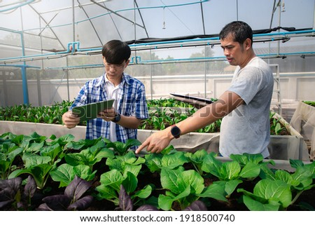 Farmers uses a tablet to take pictures of organic vegetables to track their growth in plant nursery farm. Smart agriculture technology concept.
