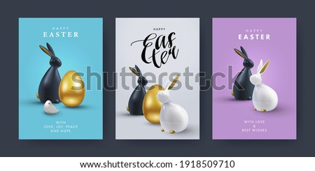 Easter Set of greeting cards, holiday covers, posters, flyers design in 3d realistic style with golden egg and black and white rabbit. Modern minimal design for social media, sale, advertisement, web Royalty-Free Stock Photo #1918509710
