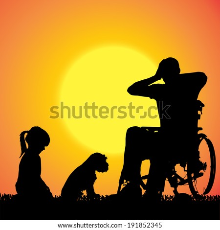 Vector silhouette of a family that is out at sunset.  #191852345