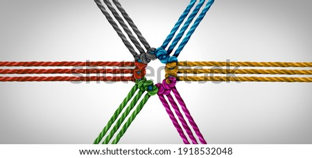 Group trust partnership and concept of team partner and unity or teamwork idea as a business metaphor for joining a partnership connected together as a corporate symbol for working cooperation.