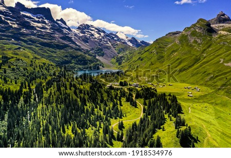 Mountain green valley forest landscape. Green mountain valley landscape. Mountain green valley panorama. Mountain valley landscape