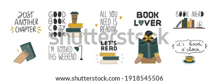 Collection of inspirational handwritten quotes. Books lover, reeding books, readers concept. Bundle of decorating clip art isolated. Vector hand drawn illustration. Royalty-Free Stock Photo #1918545506
