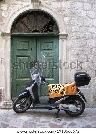 black scooter with a towel with a picture of a leopard on the background of an old green door