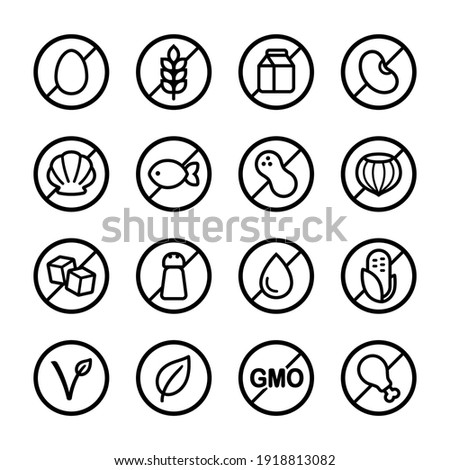 Set of ingredient and diet icons. Common allergens (gluten, dairy, soy, nut and more), sugar, salt and trans fat, vegetarian and organic symbols. Royalty-Free Stock Photo #1918813082