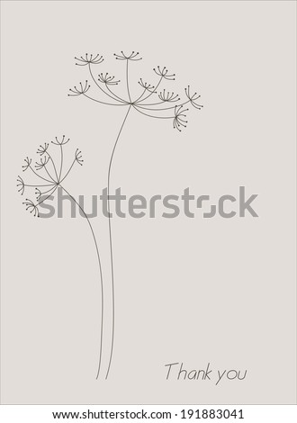 Silhouette of an inflorescence of fennel. Vector elements for design. #191883041