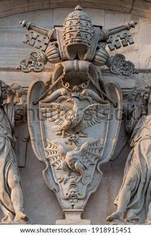 Coat of Arms Dragons and eagles of the Borghese family Royalty-Free Stock Photo #1918915451