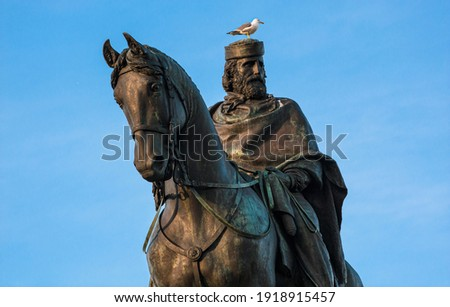 Seagull sits on the head of the statue Giuseppe Garibaldi Italian Hero and Patriot in Rome Royalty-Free Stock Photo #1918915457