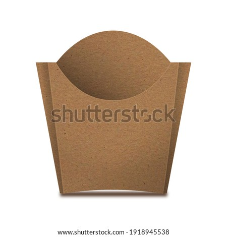 Kraft Paper French Fries Medium Size Packaging Box – Front View. Fast-food paper packaging box for french fries, fried potato chips, fried chicken and similar food. Royalty-Free Stock Photo #1918945538