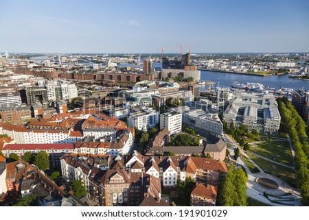 View over Hamburg, Germany to the Speicherstadt #191901029