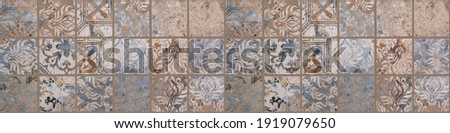 Old brown gray rusty vintage worn shabby patchwork square mosaic motif tiles stone concrete cement wall texture wallpaper background banner panorama Royalty-Free Stock Photo #1919079650