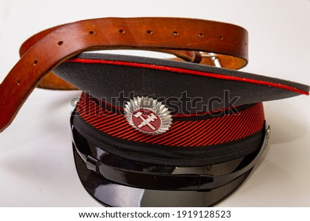 railroad cap with leather belt