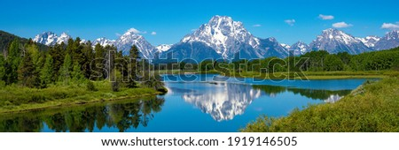 View of Mount Moran in Grand Teton National Park from oxbow bend Royalty-Free Stock Photo #1919146505
