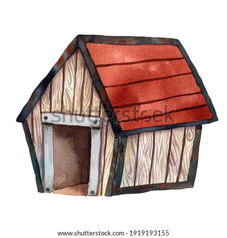 Dog house watercolor illustration. Cute animal home. Wooden exterior. Pet protection. Pet care. Puppy shelter. Dog home clip art. Cartoon style of art. Pet protection card. Farmland image.