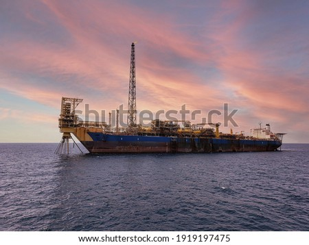 Floating production storage and offloading FPSO vessel, oil and gas indutry Royalty-Free Stock Photo #1919197475