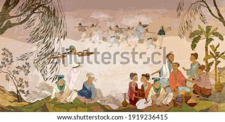 Ancient China. Hand-drawn vector illustration. Oriental people. Tea ceremony. Traditional Chinese paintings. Tradition and culture of Asia. Classic wall drawing. Murals and watercolor asian style Royalty-Free Stock Photo #1919236415