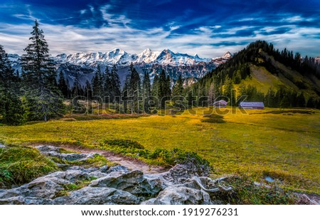 Mountain valley sky  landscape. Mountain cabin in mountain valley. Mountain cabin landscape Royalty-Free Stock Photo #1919276231