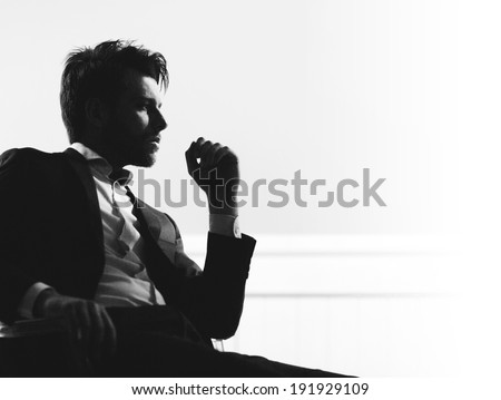 Handsome man silhouette Royalty-Free Stock Photo #191929109