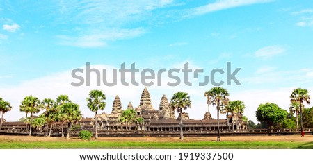 Famous khmer ancient temple complex Angkor Wat (Angkor Thom), Siem reap, Cambodia, Indochina. UNESCO world heritage Site Royalty-Free Stock Photo #1919337500