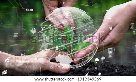 Future environmental conservation and sustainable ESG modernization development by using technology of renewable resources to reduce pollution and carbon emission . Royalty-Free Stock Photo #1919349569