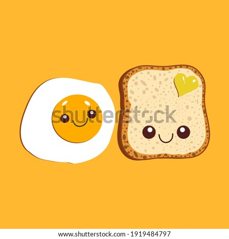 Kawaii breakfast. Slice of bread and fried egg isolated on yellow background. Vector illustration. Royalty-Free Stock Photo #1919484797