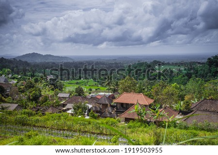 Lush green 'Tabanan Village' seen from the hill, beautiful calm and peaceful. Bali-Indonesia Royalty-Free Stock Photo #1919503955