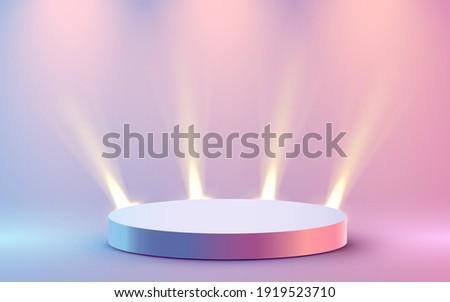 Abstract round podium illuminated with spotlight. Award ceremony concept. Stage backdrop. Vector illustration Royalty-Free Stock Photo #1919523710